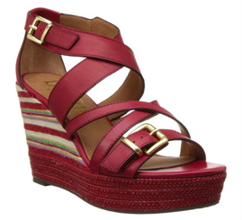 Nicole shoes- Danica- Women's Wedge Sandal, Striped Wedge Heel- Red