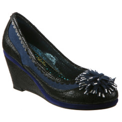 Women's Wedge, Irregular Choice Paradiso, Retro Wedge with pom pom, mix leather and suede, black