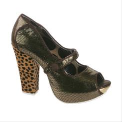 Women's Pump, Irregular Choice Sightseeing, Metallic brown peep toe mary jane pump, leopard block heel