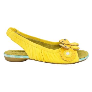 Women's Sandal, Irregular Choice Love Birds, Sling back leather sandal with floral appliqu_______- Yellow
