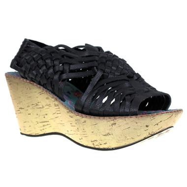 Women's Wedge, Irregular Choice Laugh Cut Loud, Huarache Wedge Sandal, Black