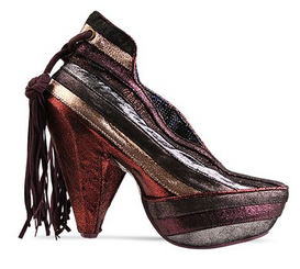 Women's Shoe, Irregular Choice Half Eaten Apple, Metallic Red Silver bronze stripe, ankle boot, gem heel