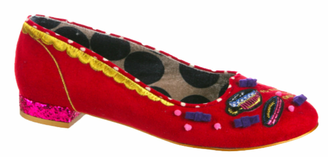 Quarter View:  Women's Shoes, Women's Flats, Irregular Choice Hi T, Red Flat with decorative embroidery