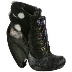Women's Shoes, Irregular Choice Krystal Star, Women's Boot, Mix Leather lace up boot, Black and polka dot