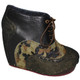 Women's Shoes, Women's unique shoes, Irregular Choice What an Angel, Oxford Style Lace up Wedge platform, Mix leather and patterns, Colorway Camouflage
