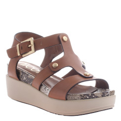 Women's Shoes, Nicole Romy Sandal, Flatform Leather Gladiator sandal in Brown and Gold Hardware, Snakeskin insole.