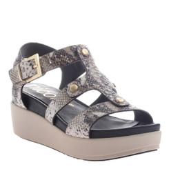 Women's Shoes, Nicole Romy Sandal, Flatform Leather Gladiator sandal in Snakeskin and Gold Hardware, leather insole.