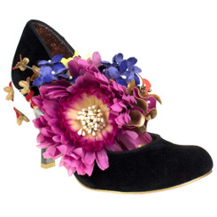 Women's Shoes, Irregular Choice Splish Splash, Black High Heeled Mary Jane, Oversized Floral Bouquet, Suede