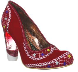 Women's Shoes, Irregular Choice Summer Bucket, High Heel Embroidered pump with lucite heel, Red