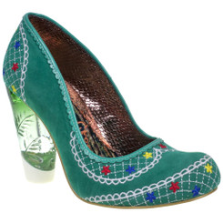 Women's Shoes, Irregular Choice Summer Bucket, High Heel Embroidered pump with lucite heel, Green