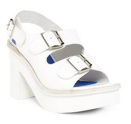 Women's Shoes, Jeffrey Campbell Botta, Seventies Platform double strap sandal, White leather