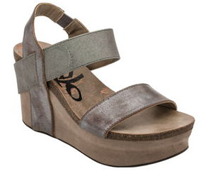 Women's Shoes, OTBT Bushnell, Open toe Wedge with elastic strap, Pewter