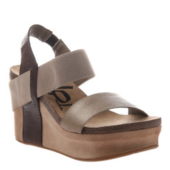 Women's Shoes, OTBT Bushnell, Open toe Wedge with elastic strap, Coffeebean (Dk brown bk Ankle strap, light brown front ankle strap and tan toe strap)