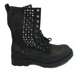 Men's Shoes, Jeffrey Campbell Hank Boot, Men's Combat Boot with Spikes, black and silver