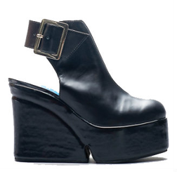 Women's Shoes, Jeffrey Campbell Geller, Open Back Platform Boot Sandal, Black Leather, Buckle closure
