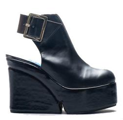 Women's Shoes, Jeffrey Campbell Geller, Open Back Platform Boot Sandal, Black Leather, Buckle closure