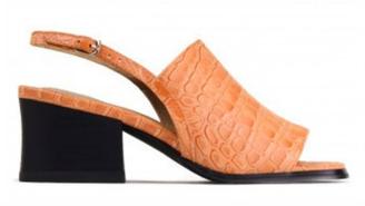 Side View: Women's Shoes, Jeffrey Campbell Loring, Block heel square toe slingback sandal, Orange croc leather