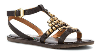 Quarter View: Women's Shoes, Sandals, Nicole Shoes Dorrie Flat sandal, Sandal with metal brushed decor, Black
