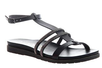 Women's Shoes, Nicole Deva, Flat Sandal with embellished jewel straps, Black