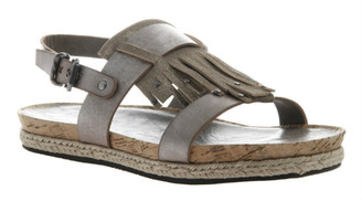 Quarter View: Women's Shoes, OTBT Tourist, Flat Tassel Sandal, Cork footbed, Silver
