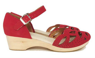 Women's Shoes, Jeffrey Campbell Anwen, Retro wooden wedge mary janes, Red perforated leather