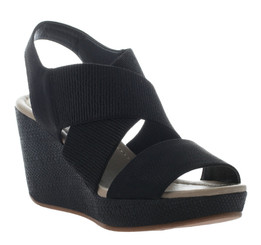 Women's Shoes, Madeline Dusky, Elastic Strap Wedge Sandal, Black