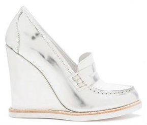 Women's Shoes, Jeffrey Campbell Tremont, Wedge Loafer, Metallic Silver and White