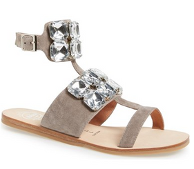Women's Shoes, Jeffrey Campbell Sabita, Suede Ankle strap sandal with oversized crystals, Grey suede and clear crystals
