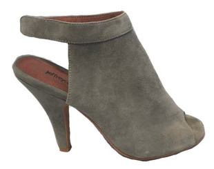 Women's Shoes, Jeffrey Campbell Norene, Grey Suede Peep Toe bootie, Open Back with ankle strap