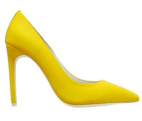 """Women's Shoes, Jeffrey Campbell Dulce, Yellow neoprene stiletto pump, 4.25"""" heel"""