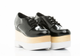 Front View- Pair: Women's Shoes, Jeffrey Campbell Digby Wood, Platform Oxford, Black Patent leather, wood & white sole