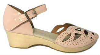 Side View:  Women's Sandals, Women's Shoes, Jeffrey Campbell Anwen, Pink Patent Leather Mary Jane, Ankle Strap, Perforated Cut outs