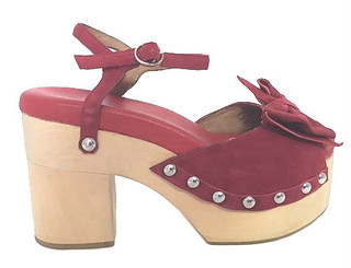 Women's Shoes, Jeffrey Campbell Bridge, Red Suede Clog Sandal, Oversized Bow and metal studs