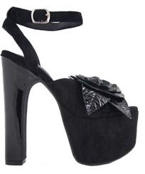 Women's Shoes, Jeffrey Campbell Jesina, Black suede platform sandal, peep toe with flower appliqué
