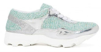 Women's shoes, Jeffrey Campbell Run Walk, Turquoise tweed athletic sneaker, mirror timing and rubber traction sole.