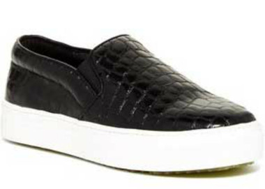 "Quarter View: Women's Shoes, Sneakers, Jeffrey Campbell Sarlo, Slip on Sneaker, Black croc upper and white 1 1/4"" sole"