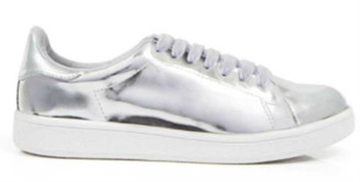 Women's Shoes, Jeffrey Campbell Player, Silver Mirror upper, White Laces, White Sole