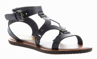 Quarter View: Women's Shoes, Madeline Delani Sandal, Flat gladiator sandal, black
