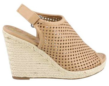 Women's Shoes, Madeline Girl Minimal, Perforated upper and jute wedge heel, beige color