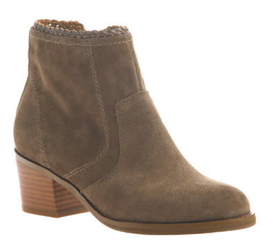 Women's Shoes, Nicole Kadin Ankle Bootie, Suede, Otter (Taupe color) Wooden Heel