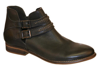 Women's Shoes, Women's Boots, Ankle boots, leather ankle boot, Nicole Raina Boot, Dark Grey, contrast stitching on straps