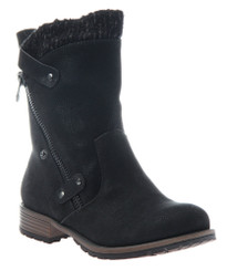 Women's shoes, Madeline Girl Rabble Boot, Moto boot with knit trim, black, vegan leather, wooden heel