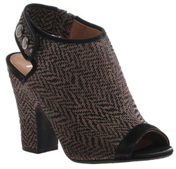 Women's Shoes, Nicole Layla Bootie, Slingback open toe boot with black trimming, Brown and black print.