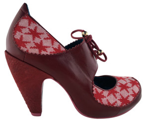 "Women's Shoes, Red high heel mary jane, white and red knit star pattern with red leather. 4"" heel and lace up mary jane strap, color burgundy"
