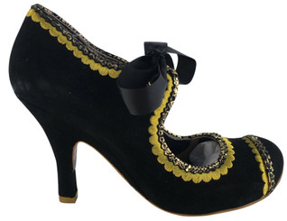 "Women's Shoes, Irregular Choice High Heel Mary Jane, Black suede with gold scallop embroidery and textured trim. Black ribbon laces and gold eyelets. 3 3/4"" heel."