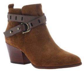 Women's Shoes, Nicole Francis Bootie, Western inspired ankle boot with wrap around straps and pointed toe. Honey color way, rich cognac color, with black leather straps.