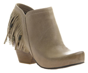 Women's Shoes, OTBT Folkloric Bootie, Western Fringe Bootie, Stacked wooden heel and rounded toe. Beaded fringe at back heel. Desert color way (Beige-Grey) Leather.