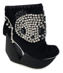 Women's Shoes, Irregular Choice Panda embellished ankle boot, Geometric cut out wooden wedge heel, Pony hair upper with panda jewel embellished appliqu