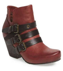 """Side View. Women Shoes Online, Women's Shoes, Women's Boots. OTBT Lasso Bootie, Wedge heeled Bootie with multi-straps. 2.91"""" heel height and .5"""" platform. Color Red Oak (deep red), Black Straps, with antique brass hardware."""