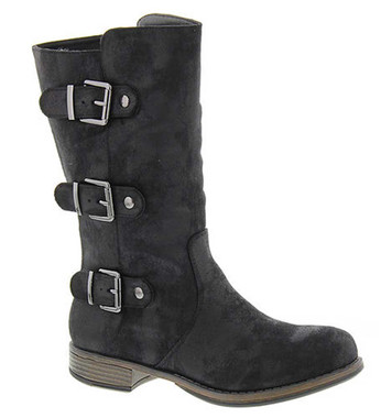 "Side View. Women Shoes Online, Women's Shoes, Women's Boots. Madeline Girl Roasted Mid Calf Boot, 1"" heel and 3 multi straps, Black upper with silver hardware."